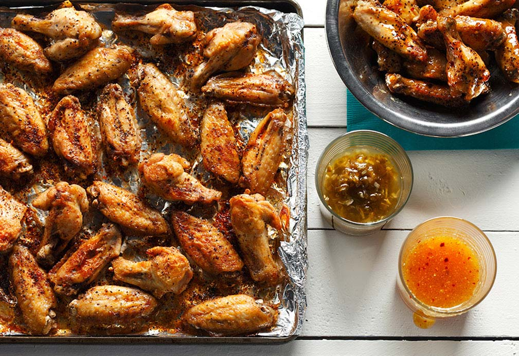 Broiled Chicken Wings With Two Sauces