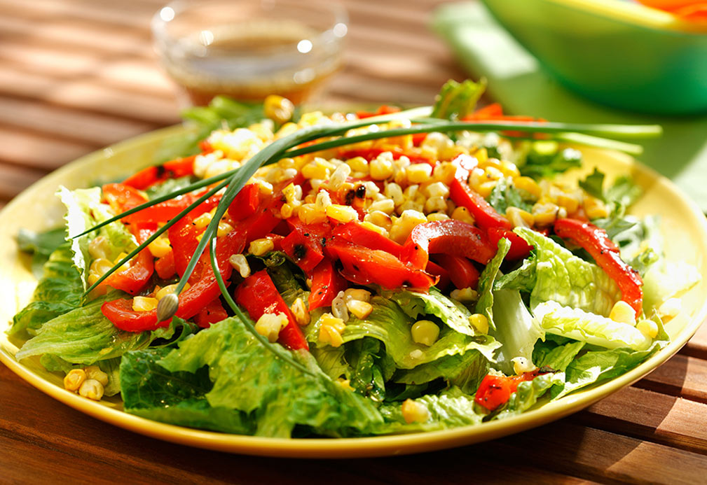 Caramelized Corn and Red Pepper Salad with Chives recipe made with canola oil by Robin Miller