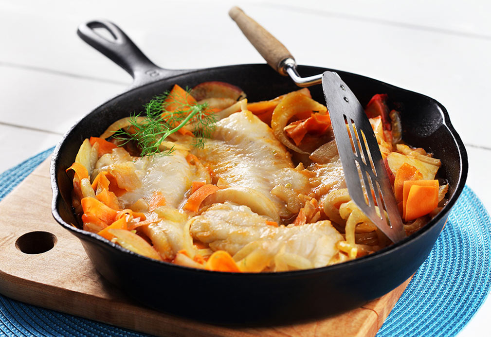 Cod Fish with Potatoes, Fennel and Carrots recipe made with canola oil