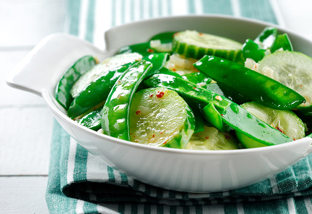 Cucumber with Snow Peas recipe made with canola oil