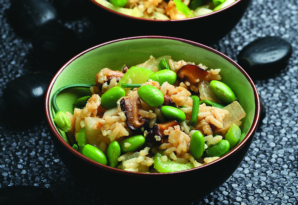Edamame Fried Rice recipe made with canola oil