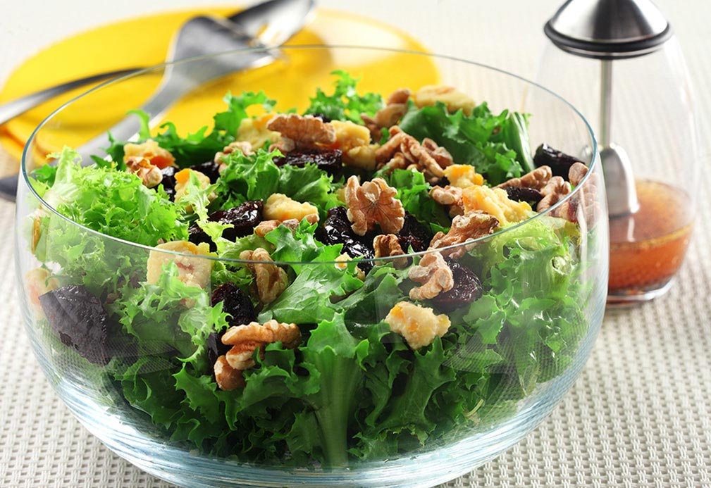 Endive Salad with Prunes, Stilton and Walnuts recipe made with canola oil