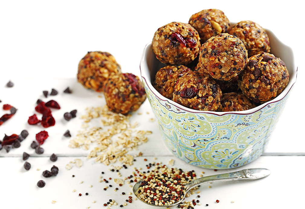 Freezer Quinoa Peanut Butter Oat Balls recipe made with canola oil by Nancy Hughes