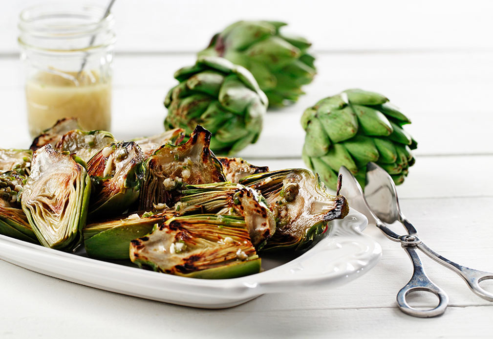 Grilled Baby Artichokes with Lemon Caper Vinaigrette recipe made with canola oil by Nathan Fong