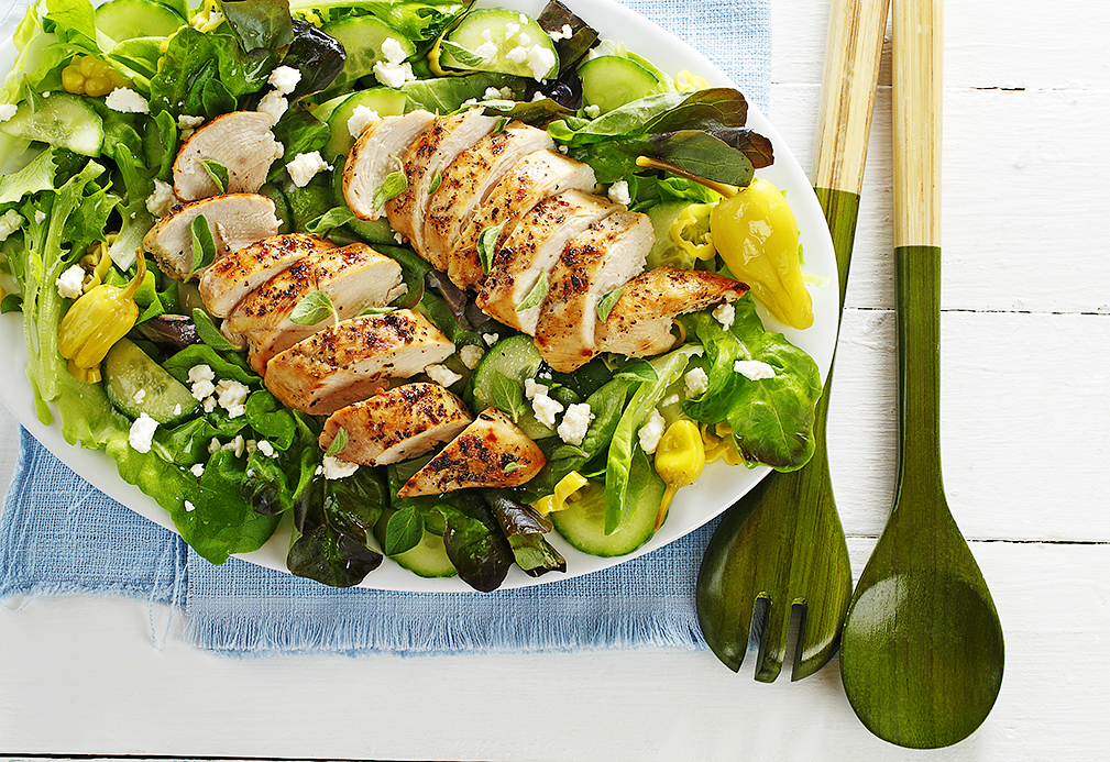 Grilled Chicken & Pepperoncini Butter Lettuce Salad