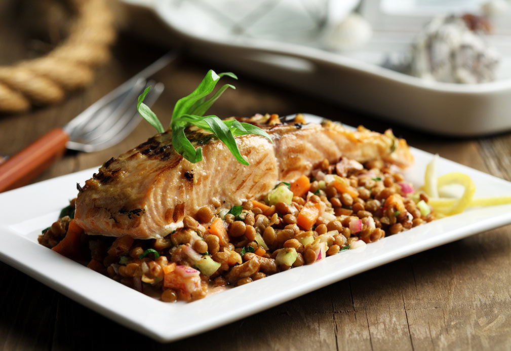 Grilled Salmon Over Lentil Salad with Walnut Vinaigrette
