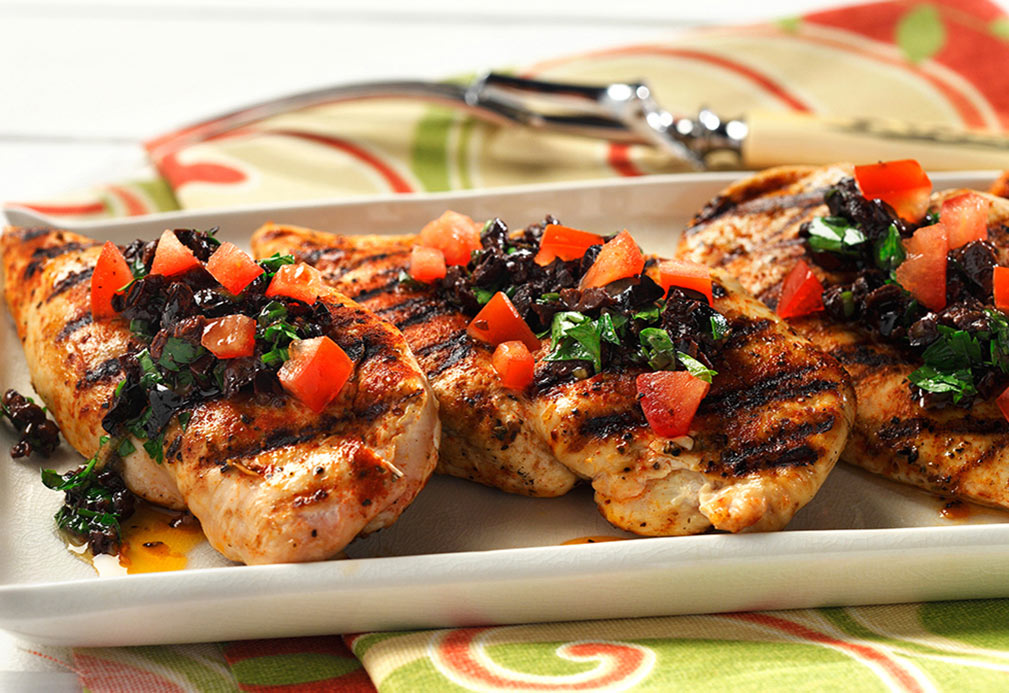 Grill Pan Chicken with Olive Gremolata recipe made with canola oil by Nancy Hughes