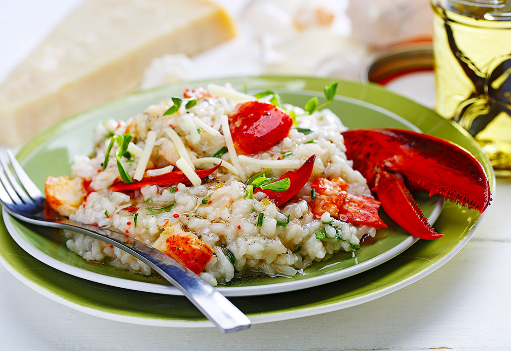 Lobster Risotto with Savory Vanilla Bean Canola Oil