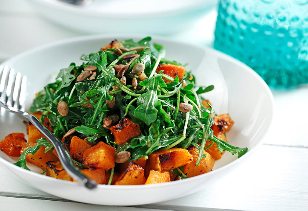 Maple Glazed Butternut Squash on Arugula Salad