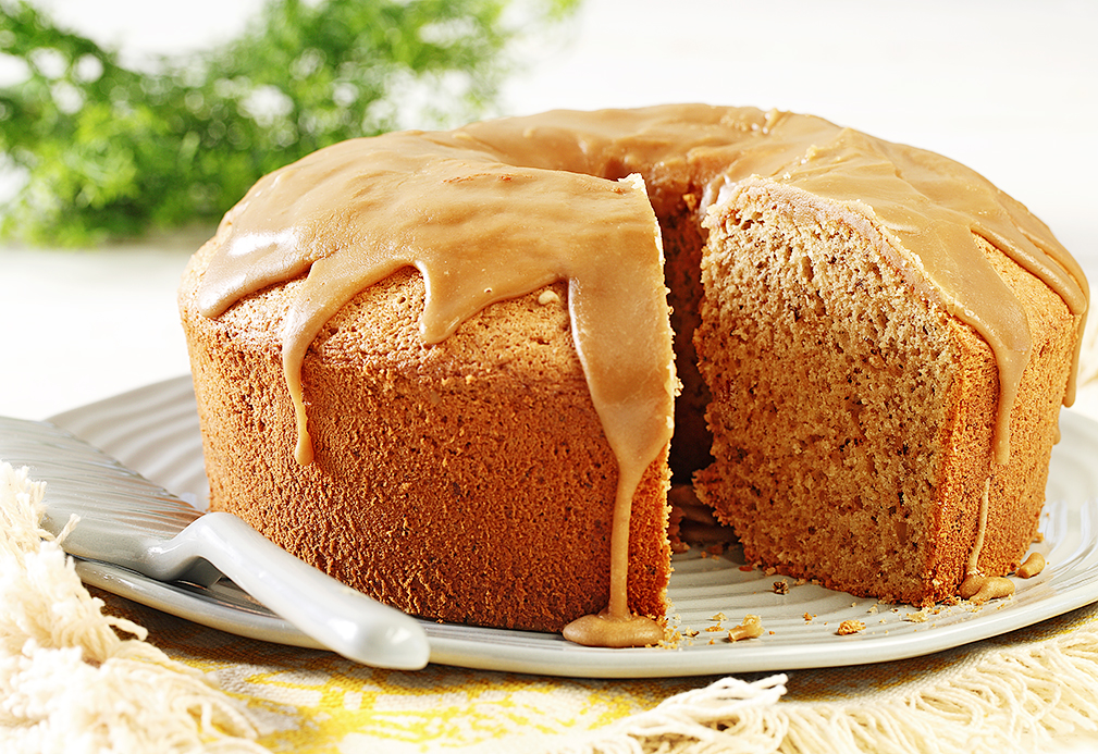 Maple Walnut Chiffon Cake recipe made with canola oil