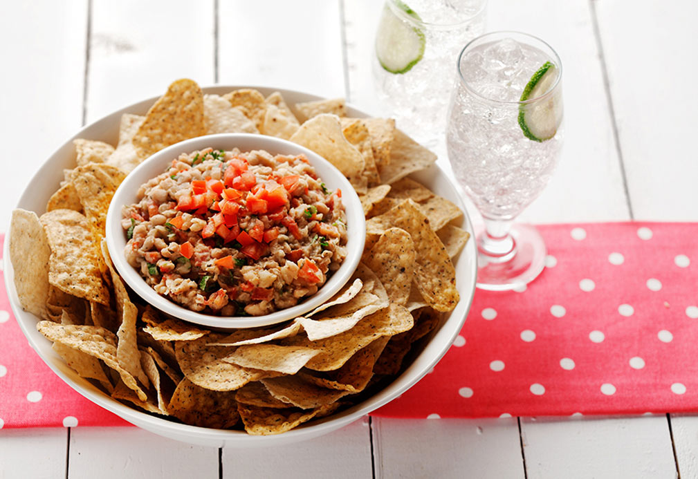 Mexican Cilantro Bean Spread with Home Fried Taco Chips recipe made with canola oil
