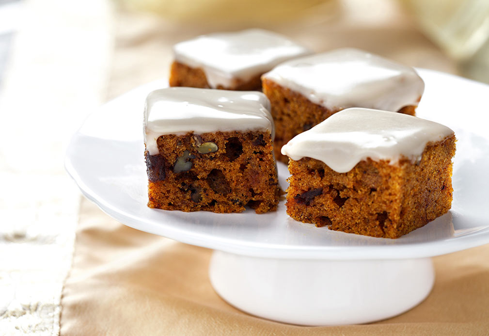Mini Pumpkin and Date Nut Cakes with Maple Glaze recipe made with canola oil