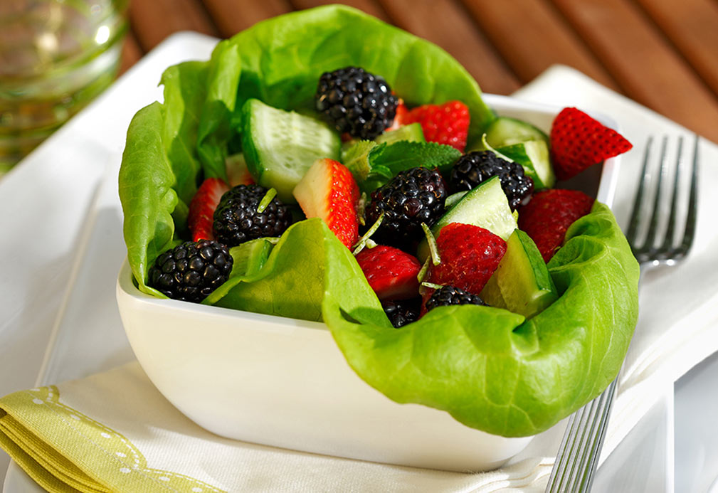 Mixed Berry, Cucumber and Mint Salad with Lime Dressing recipe made with canola oil by Robin Miller