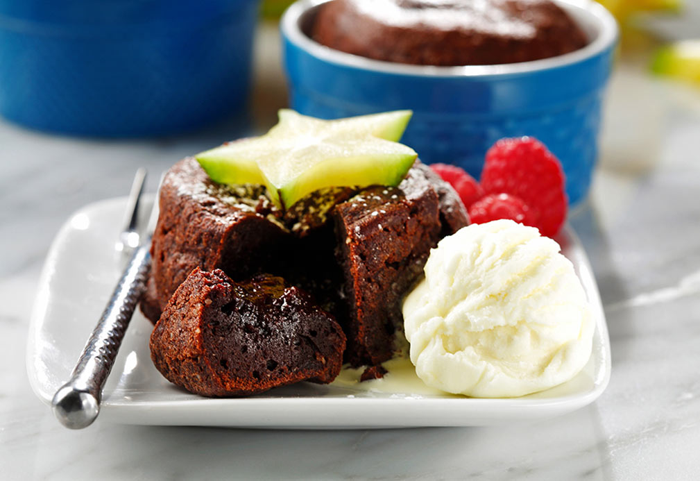 Molten Chocolate Cake recipe made with canola oil by the Culinary Institute of America