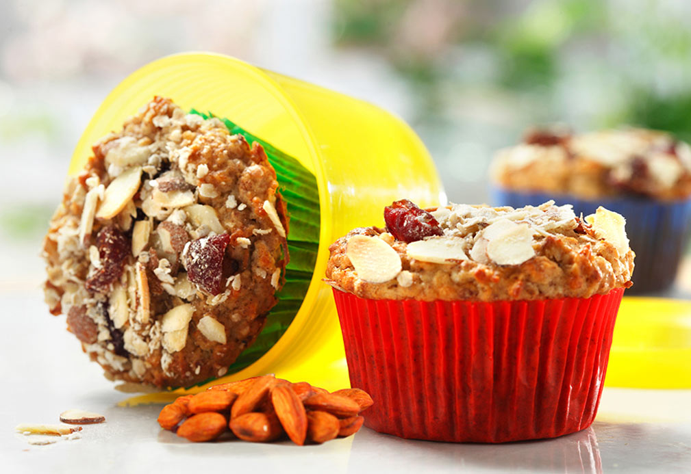 Muesli Muffins with Almonds and Cranberries recipe made with canola oil by Nancy Hughes