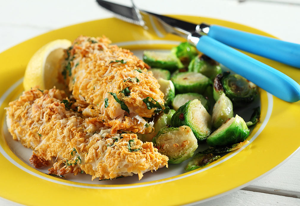 Parmesan Crusted Halibut & Spicy Sprouts recipe made with canola oil by Keri Glassman
