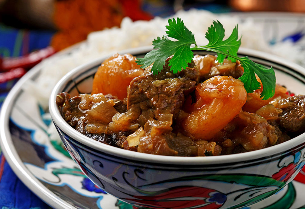 Persian Lamb Stew with Dried Apricots recipe made with canola oil by Raghavan Iyer