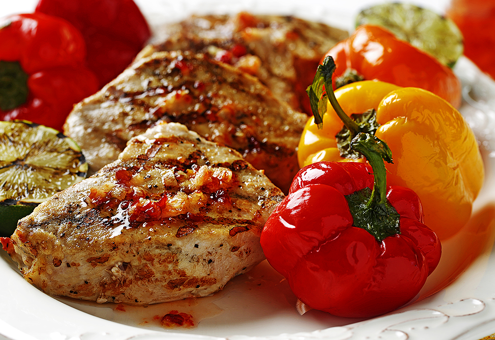 Pork & Petite Peppers with Fresh Ginger Hot Sauce recipe made with canola oil by Nancy Hughes