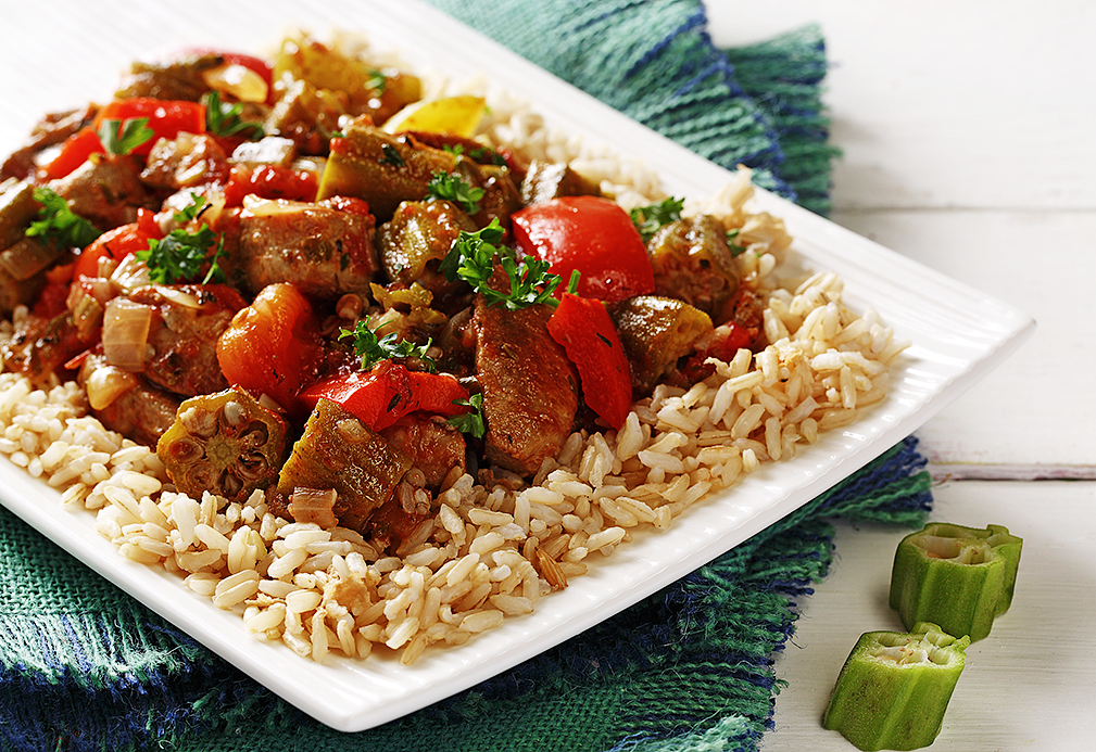 Pork and Okra Creole recipe made with canola oil by Nancy Hughes