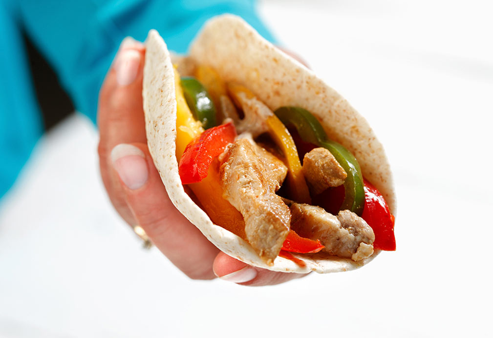 Pork fajita recipe made with canola oil developed by Julie DesGroseilliers