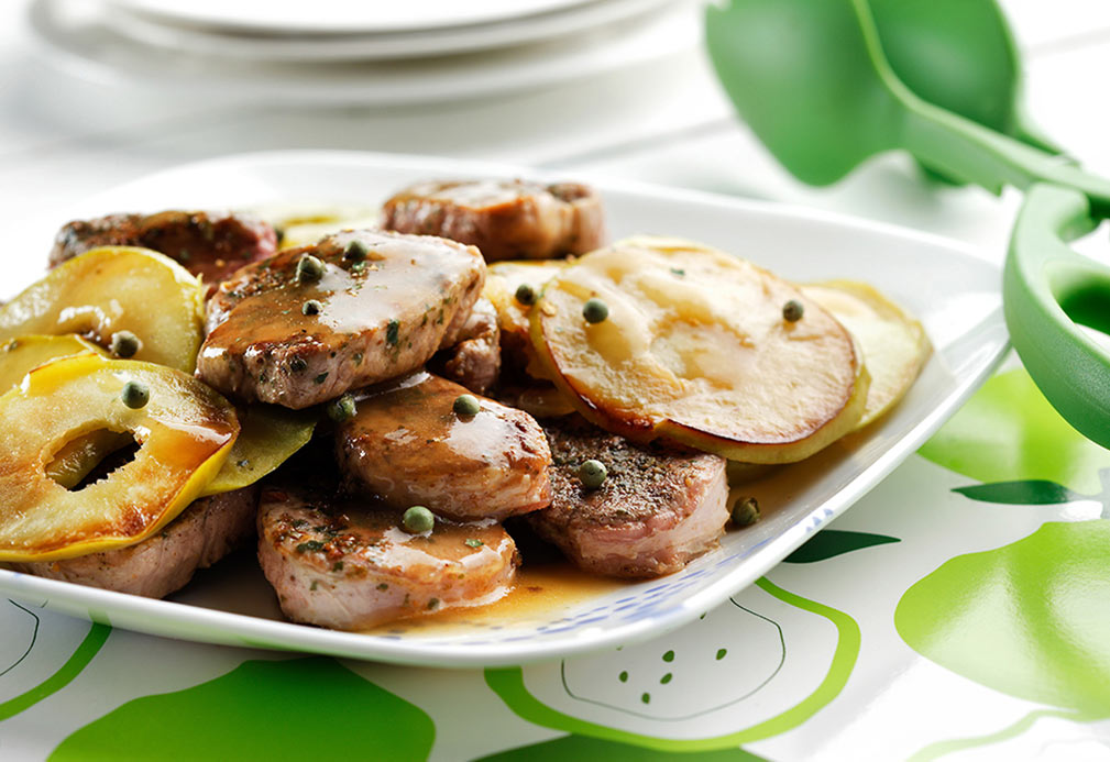 Pork Medallions with Apples recipe made with canola oil