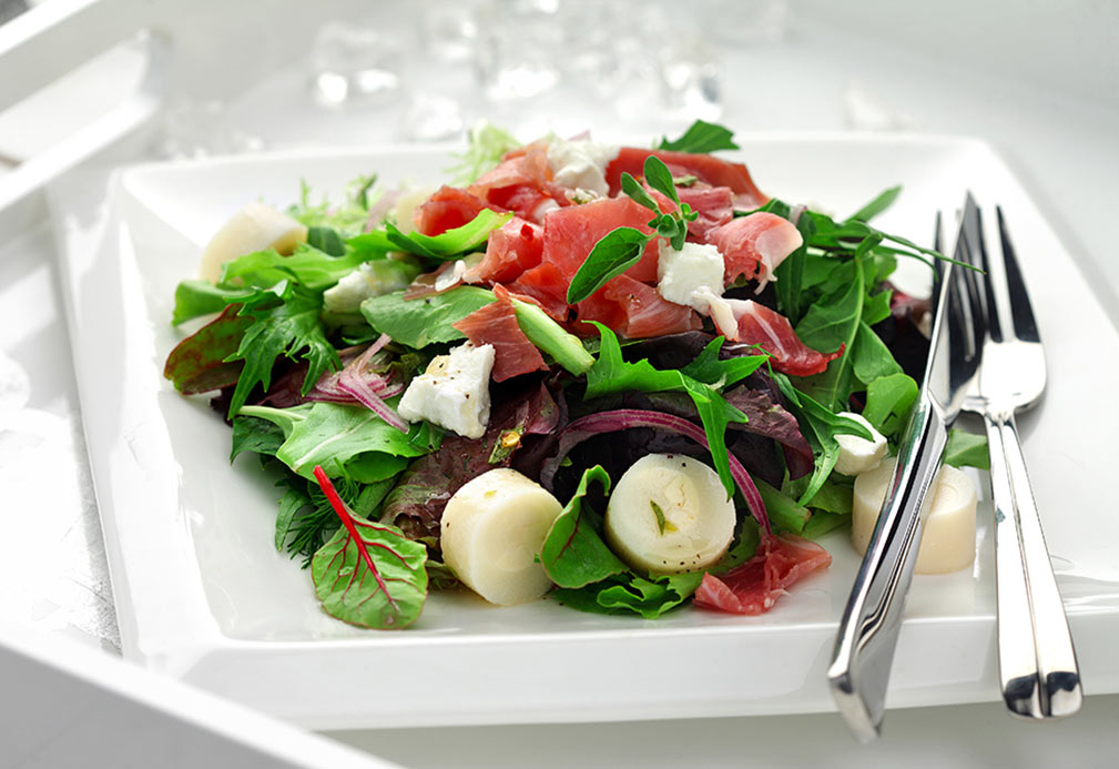 Prosciutto and Hearts of Palm Salad with Champagne Vinaigrette recipe made with canola oil by Nancy Hughes