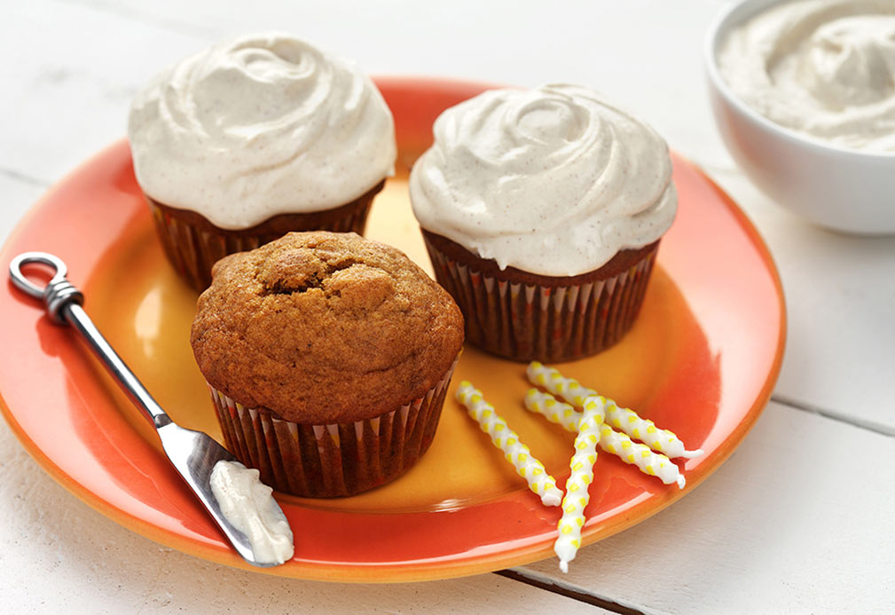 Pumpkin Walnut Cupcakes with Crème Frosting
