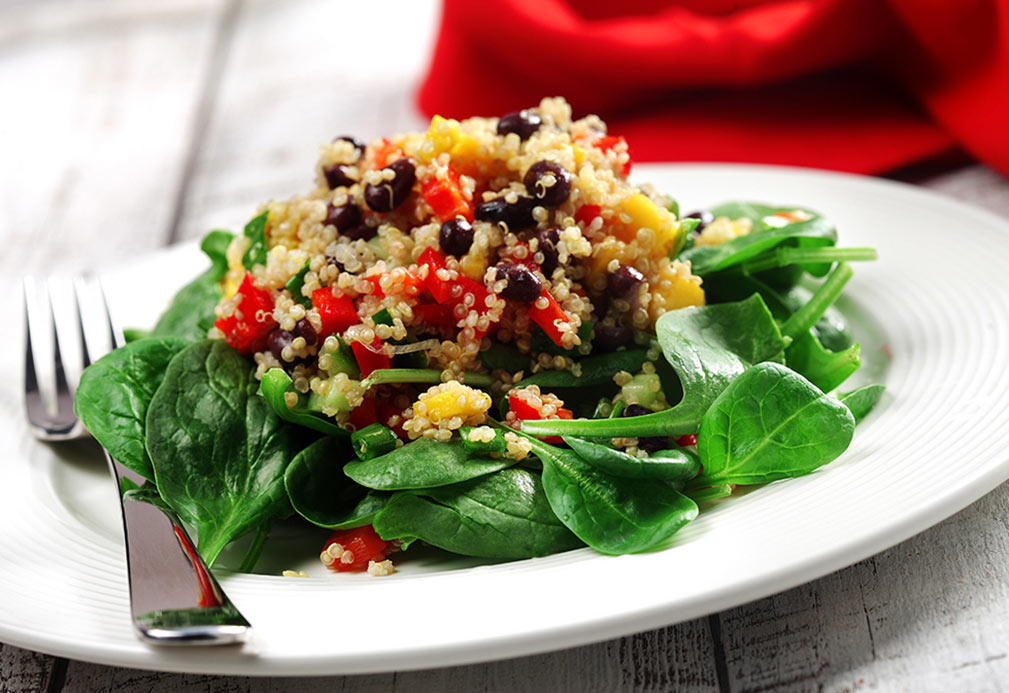 Quinoa, Black Bean & Mango Salad recipe made with canola oil by Julie Van Rosendaal