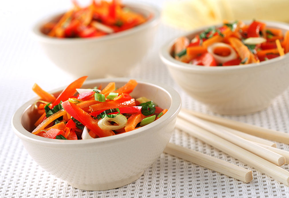Rainbow Salad with Thai Dressing recipe made with canola oil