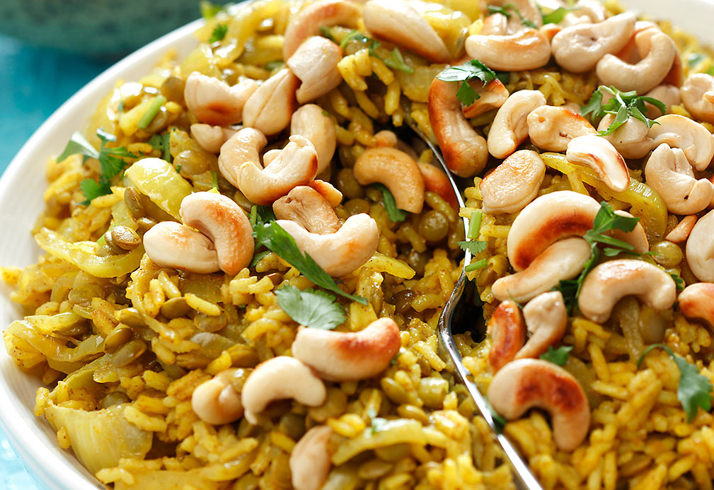 Rice Pilaf with Lentils, Curried Onions & Cashews recipe made with canola oil