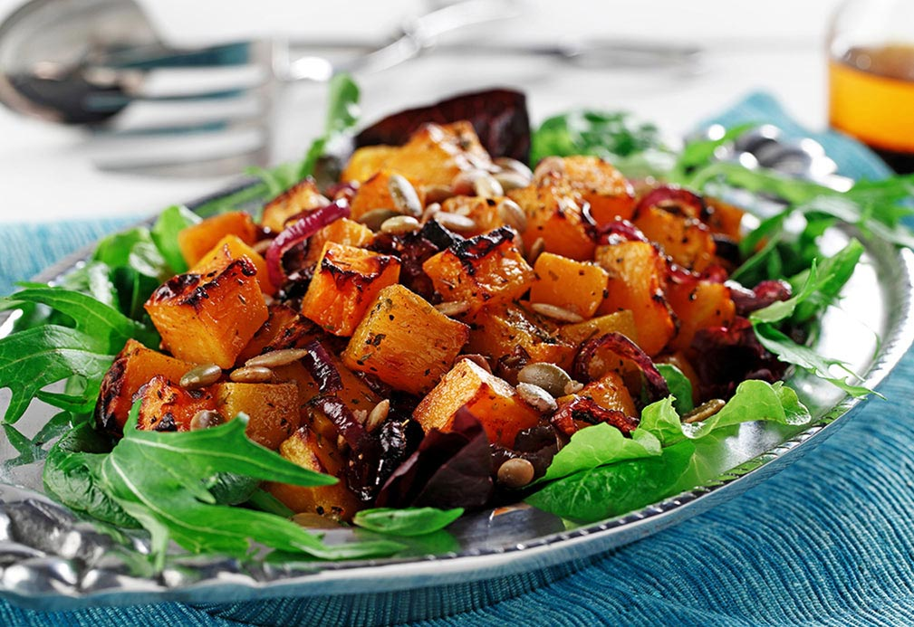 Roasted Butternut Squash Salad with Chile Vinaigrette