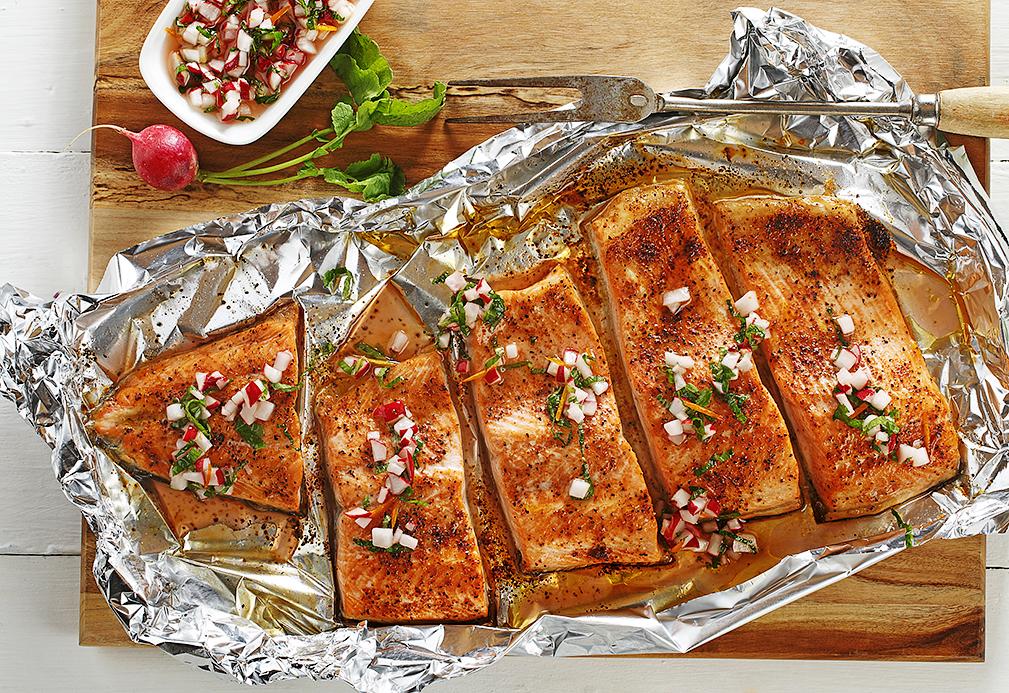 Roasted Salmon with Fresh Radish Relish