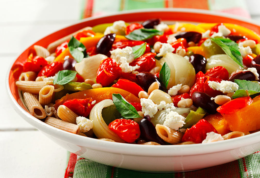 Roasted Veggies with Pasta and Feta recipe made with canola oil by Nancy Hughes