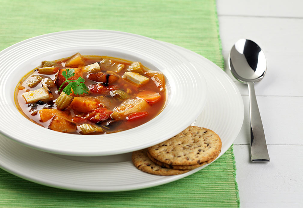 Roasted Vegetable Tofu Soup recipe made with canola oil