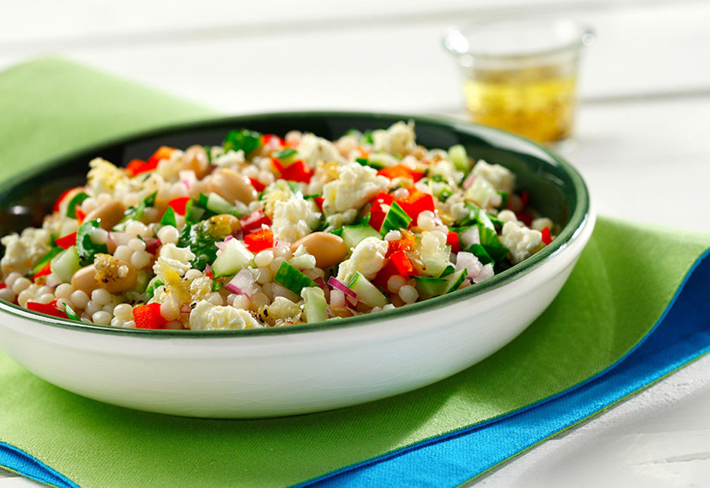 Rosemary Feta Pearl Couscous Salad recipe made with canola oil by Nancy Hughes