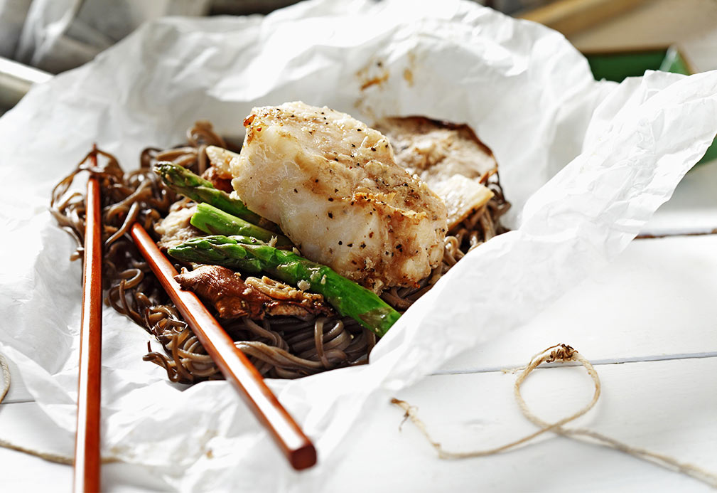 Sea Bass with Soba Noodles and Sake Soy Sauce recipe made with canola oil by Gene Kato