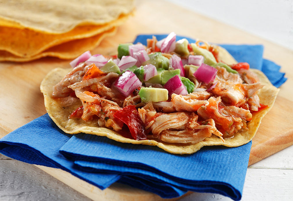 Shredded Chicken Tostadas with Spicy Tomato Salsa recipe made with canola oil by Alfredo Oropeza