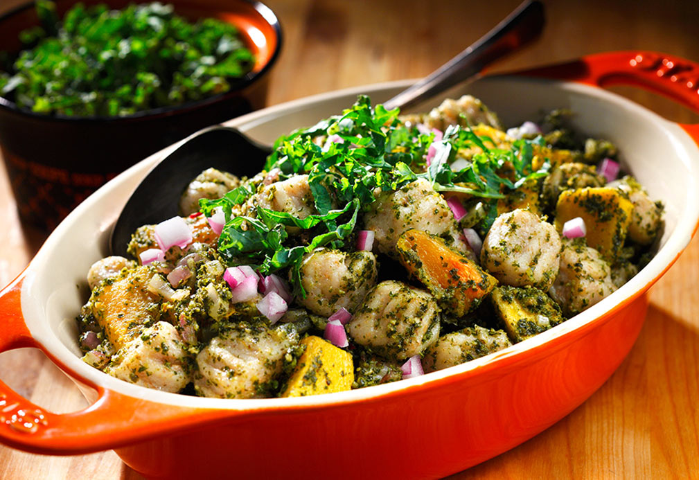 Skillet Gnocchi with Butternut Squash and Kale Pesto recipe made with canola oil by Dawn Jackson Blatner