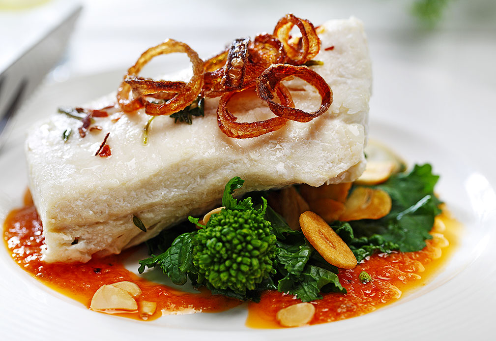 Slow Oil Poached Halibut Over Broccoli Rabe