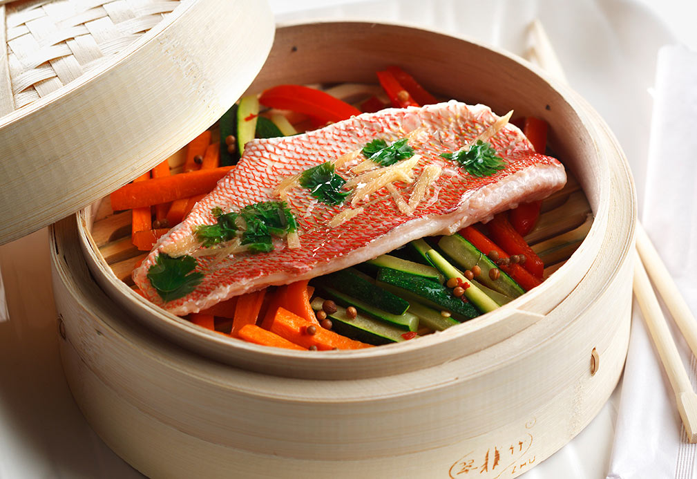 Steamed Snapper with Citrus Sweet and Sour Sauce recipe made with canola oil by Gene Kato