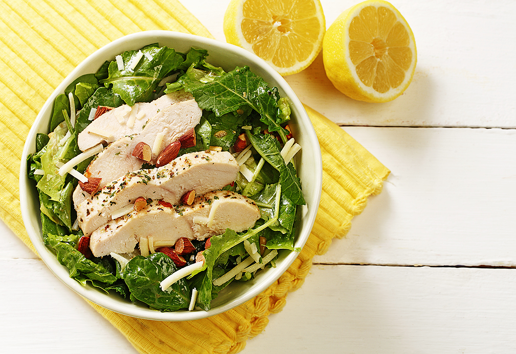 Super-greens Caesar Salad with Roasted Chicken