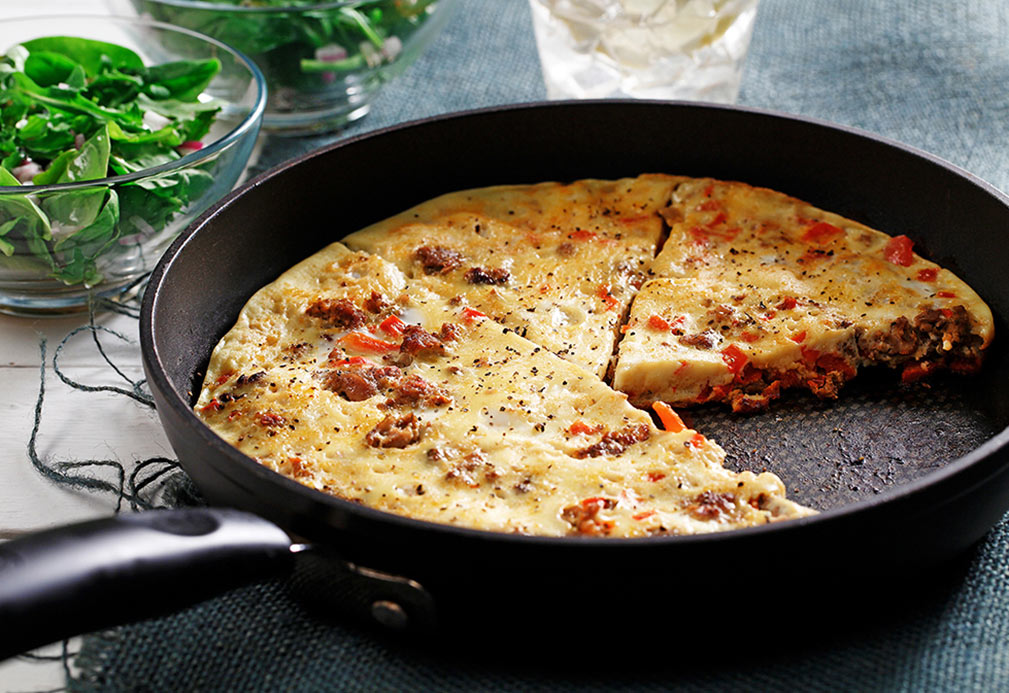 Sweet Sausage, Sweet Pepper Frittata recipe made with canola oil by Nancy Hughes