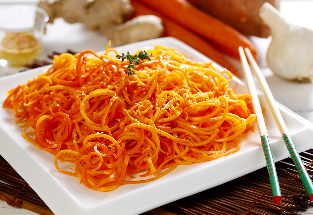 "Toasted Sesame Carrot and Sweet Potato ""Noodles"" recipe made with canola oil Patricia Chuey"