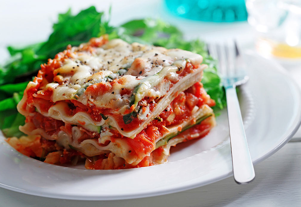 Tomato, Basil and Zucchini Lasagna recipe made with canola oil by Patricia Chuey