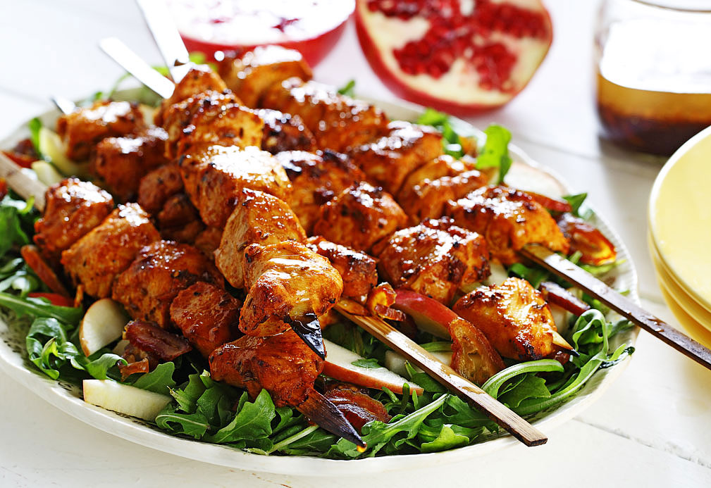 Tunisian Spiced Chicken Skewers recipe made with canola oil by the Culinary Institute of America