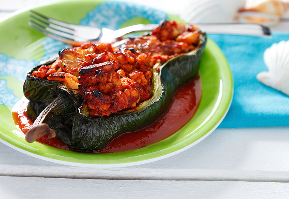 Turkey and Plantain Stuffed Poblano Chiles