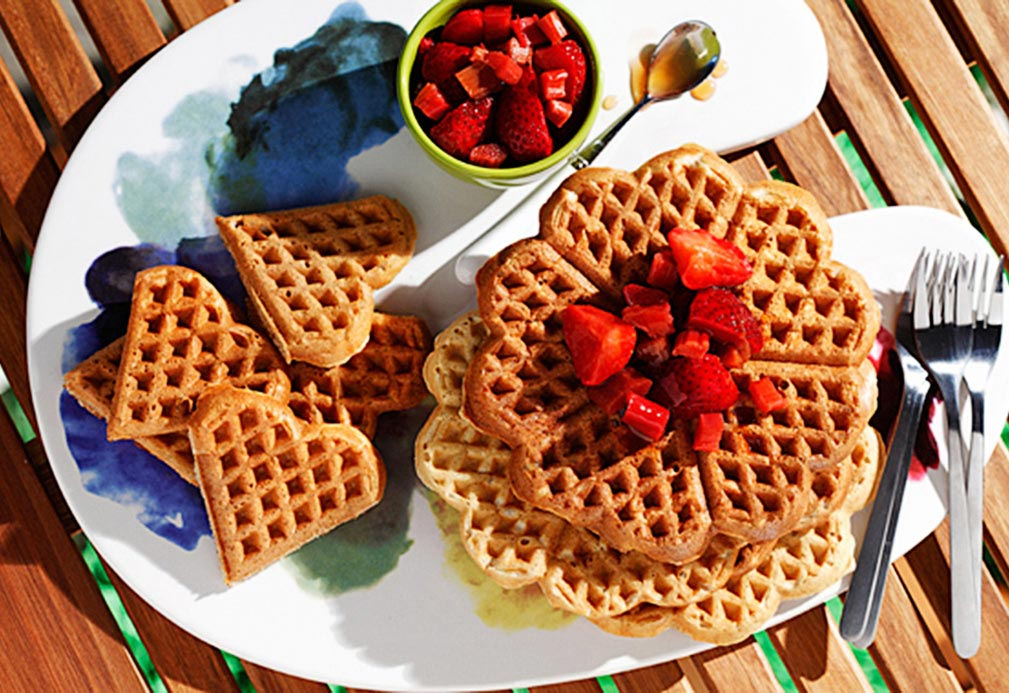 Whole Grain Waffles with Strawberry Rhubarb Topping recipe made with canola oil by Ellie Krieger