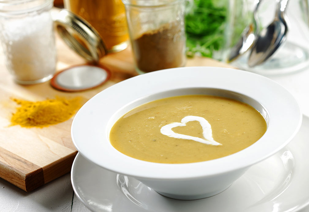 Yellow Split Pea Soup with Chile Spiked Onion and Crème Fraîche