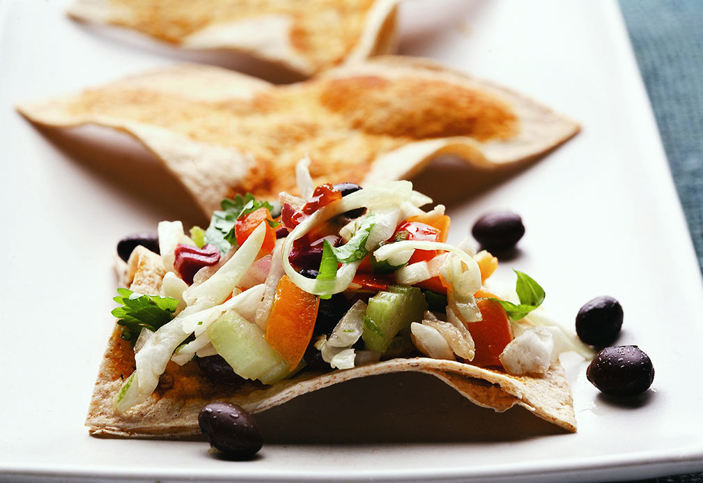 Zesty Coleslaw with Whole Wheat Tortilla Triangles recipe made with canola oil
