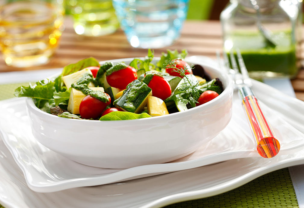 Zucchini, Squash and Grape Tomato Salad with Basil Vinaigrette